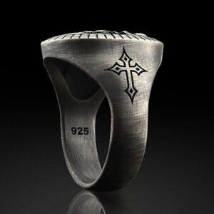 Men's Jesus Oxidized Ancient Silver Ring