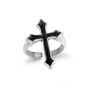 Vintage Black Big Cross Ring For Women Party Jewelry Men Trendy Gothic