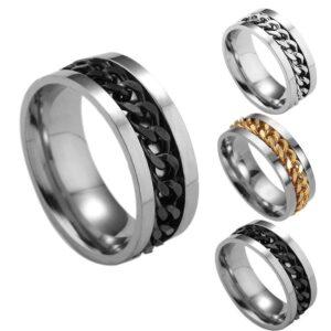 Men's Titanium Steel Chain Rotating Ring