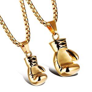 titanium steel boxing gloves necklace