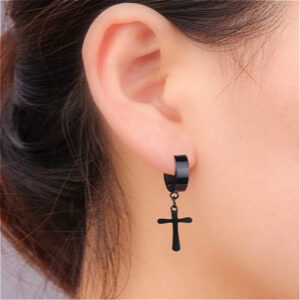 Men And Women Cool Trend Cross Titanium Steel Earrings