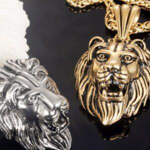 U7 Black Lion Charms Necklace Rock Punk Style Men/Women Retro Jewelry Gold Color Stainless Steel Chain Necklace & Pendant P807