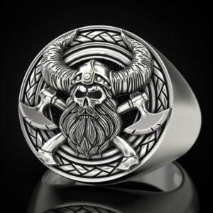 Nordic mythology of man's ring with ancient Viking skeleton