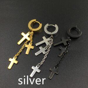 Tassel Cross Stainless Steel Stud Earrings