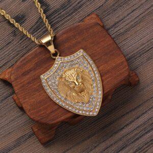 Lion Pendant Punk Shield Jewelry Necklace