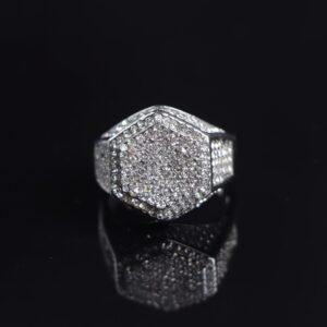 Men's Hexagonal Ring With Micro-inlaid Zircon